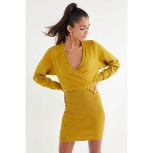 NWT UO Wrap Sweater Retro Skirt Dress - Mustard